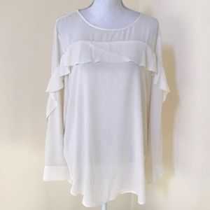 Banana Republic XL ivory L/S  sheer Ruffled Top